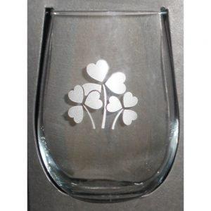 Glass: Stemless Win 17 oz X4 Shamrock