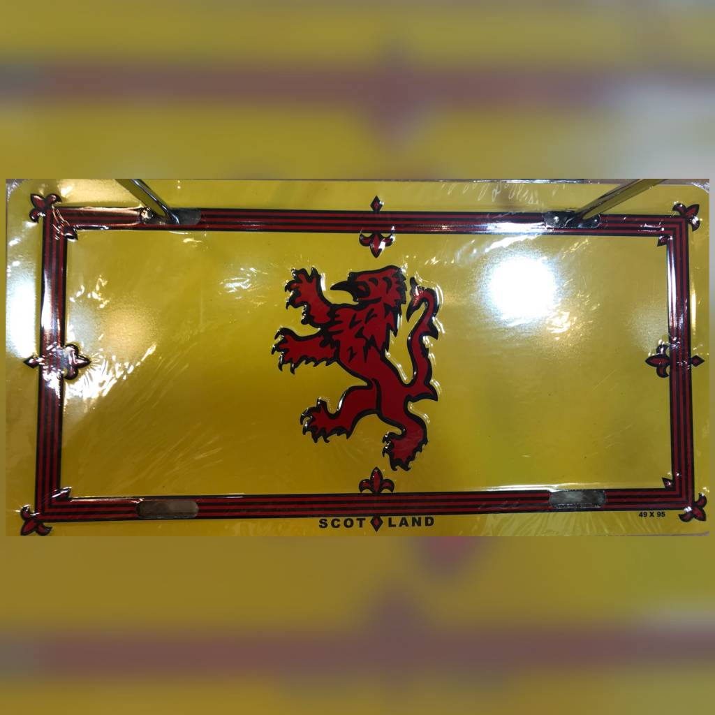 License Plate: Scottish Rampant Lion (rd/gld)
