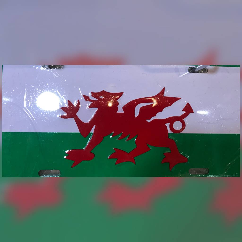 License Plate: Wales (red, green,white)