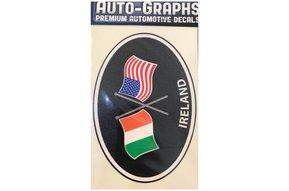Sticker: Crossed Flags, Ireland/USA