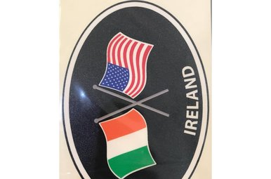 Sticker: Crossed Flags, Ireland/USA