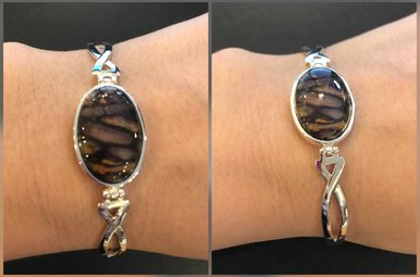 Bracelet: Bangle Sterling Plated Heather Gems