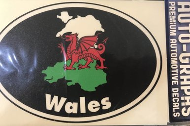 Sticker: Flag Country, Oval, Wales
