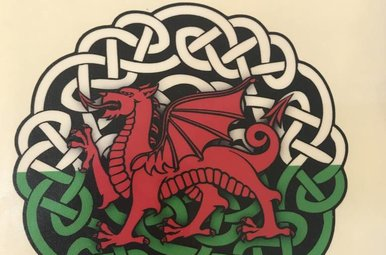 Sticker: Celtic Circle, Red Dragon