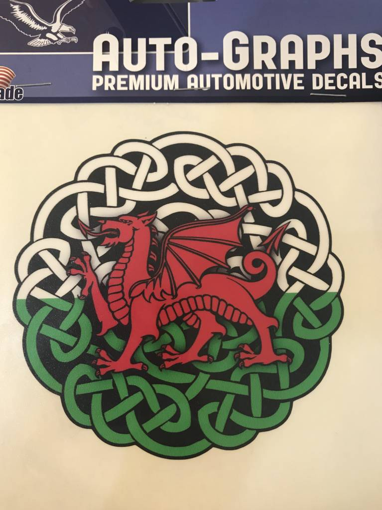 Sticker: Celtic Circle, Red Dragon