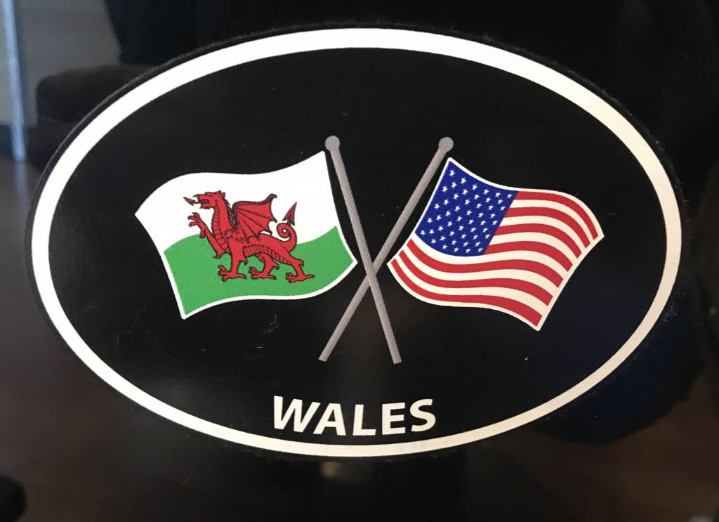 Sticker: Crossed Flags, Wales/USA