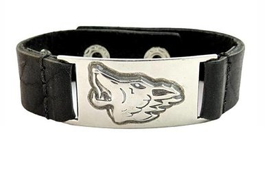 Bracelet: Celtic Wolf, Leather & Pewter