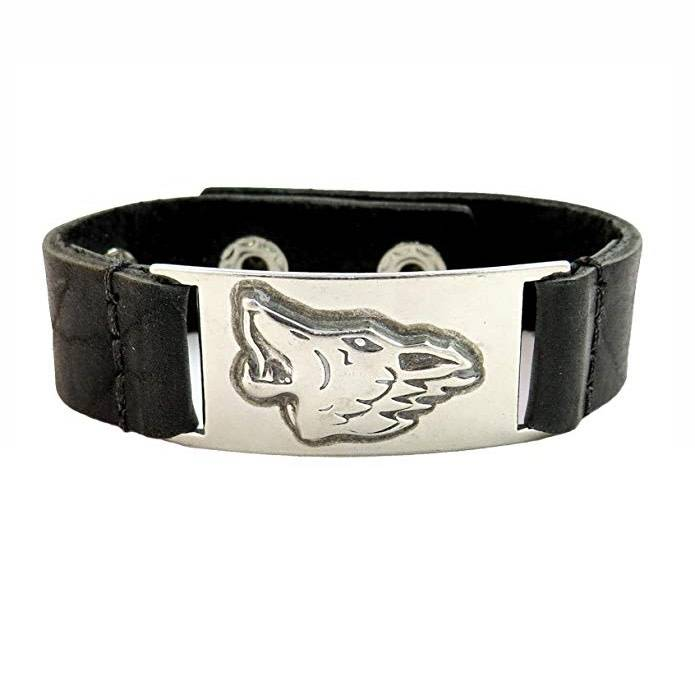 Leather Bracelet: Celtic Wolf, Leather & Pewter