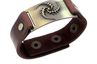 Bracelet: Triskele Spirals, Leather & Zinc Alloy