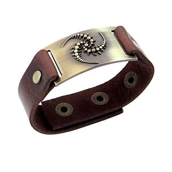 Leather Bracelet: Triskele Spirals, Leather & Zinc Alloy