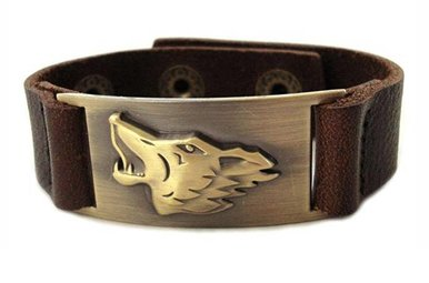 Bracelet: Celtic Wolf, Leather & Zinc Alloy