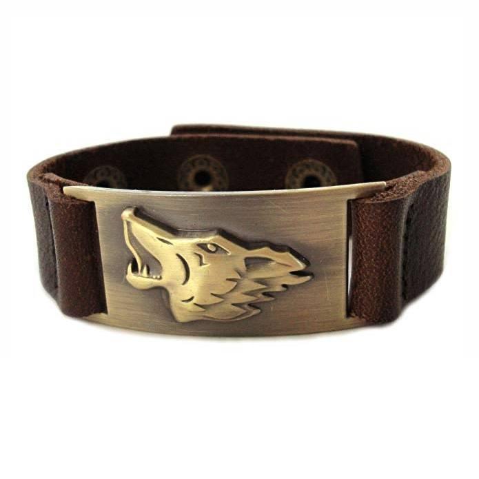 Leather Bracelet: Celtic Wolf, Leather & Zinc Alloy