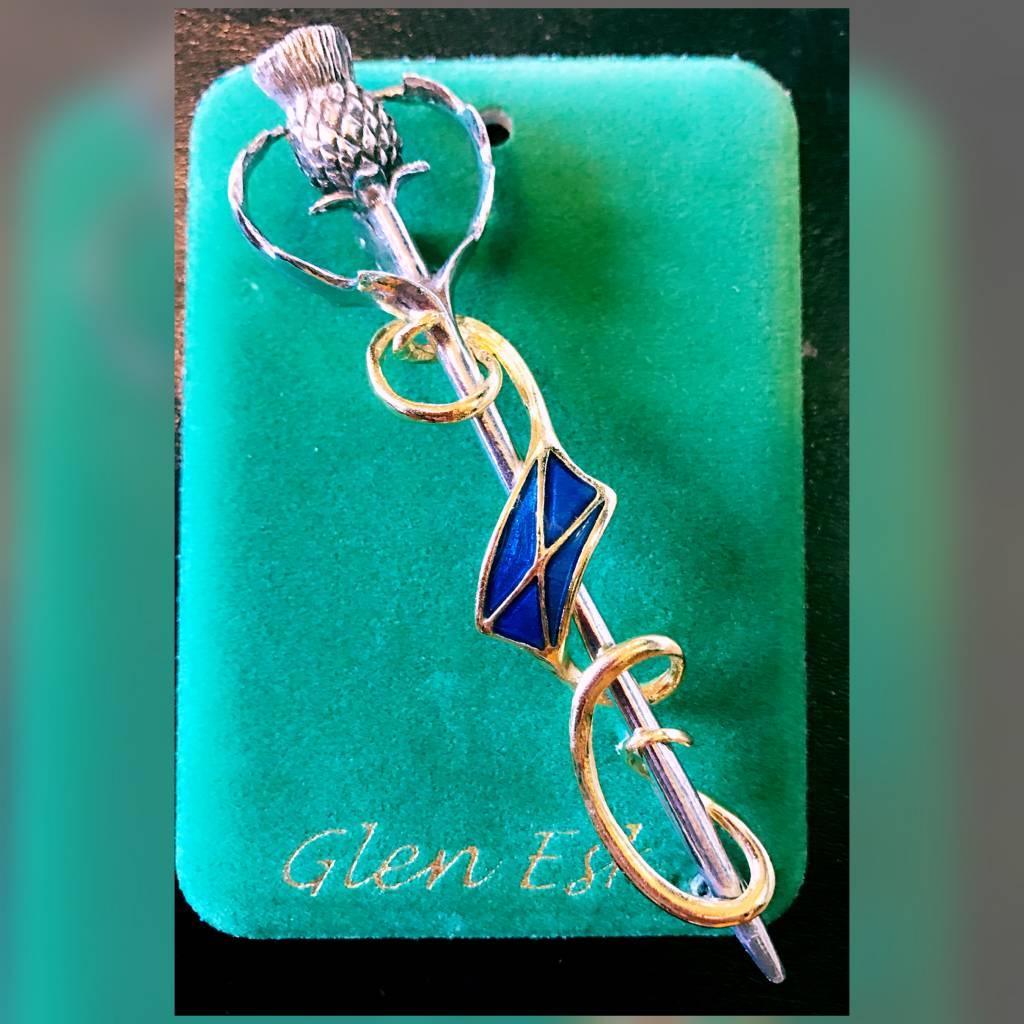 Kilt Pin: Thistle Saltire