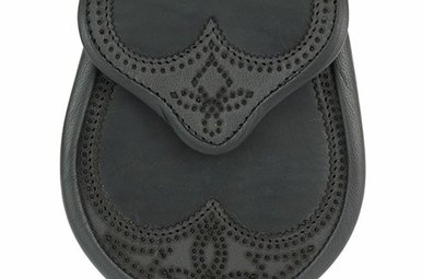 Sporran: Brogued Saddle Leather, Black