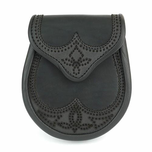 Glen Esk Sporran: Brogued Saddle Leather, Black
