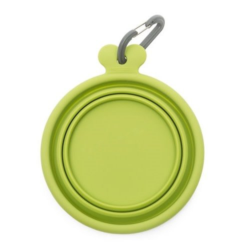 Dog Bowl: Portable, Collapsible Silicone, Lime Green