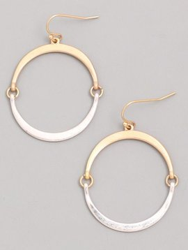 Flat Hoop Silver Earrings