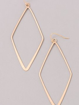 Diamond Shaped Gold Earrings