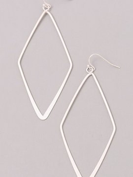 Diamond Shaped Silver Earrings