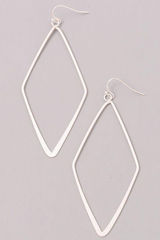 Diamond Shaped Silver Earrings