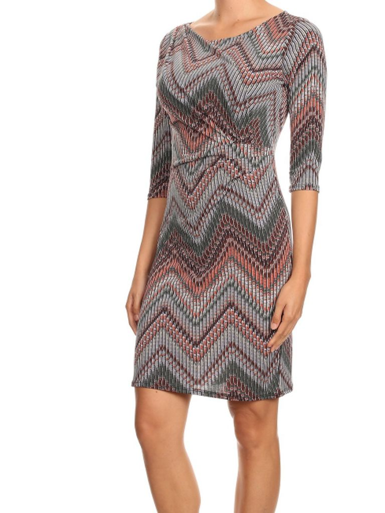 Purple Rain Lined Chevron Dress