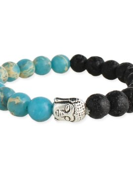 Zad Buddha and Lava Bead Diffuser Bracelet