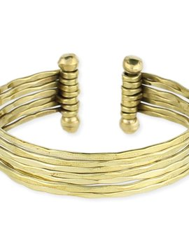Hammered Gold 7 Line Cuff