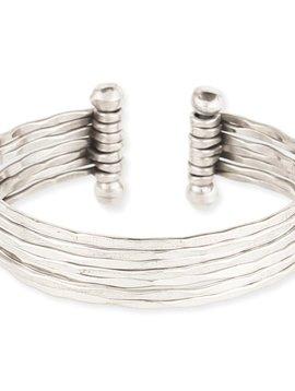 Hammered Silver 7 Line Cuff