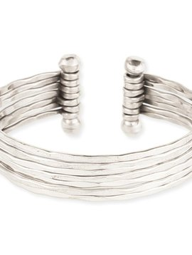 Zad Hammered Silver 7 Line Cuff
