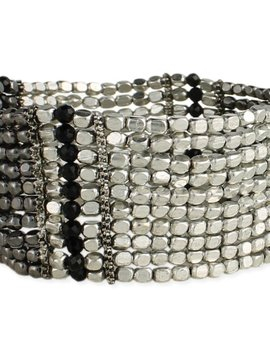 Zad Silver and Black Bead Bracelet