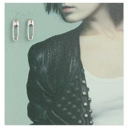 Zad Silver Safety PIN Earring