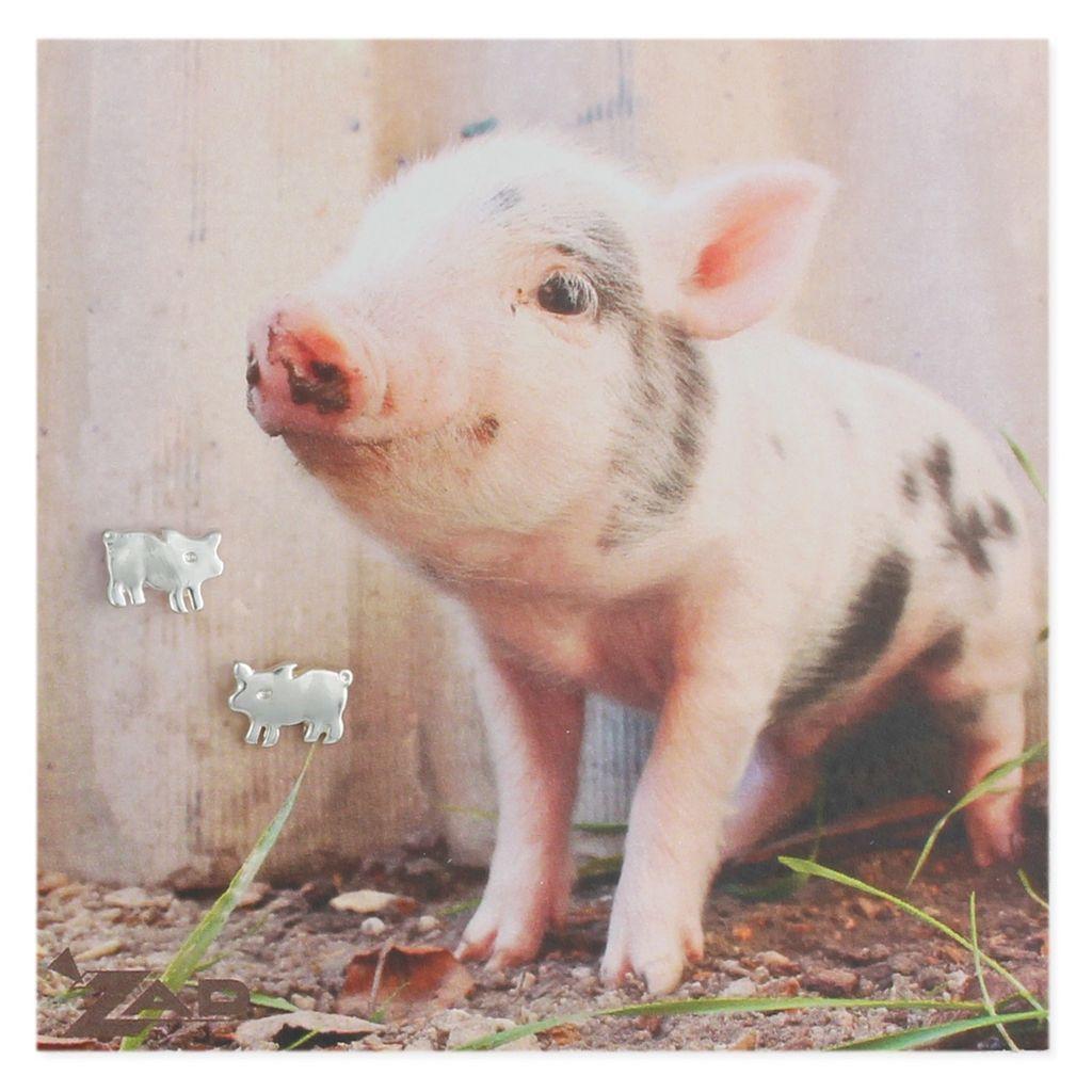 Zad Silver Pig Post Earrings