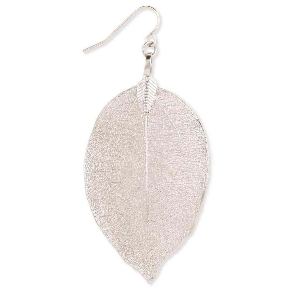 Zad Silver Natural Leaf Earring