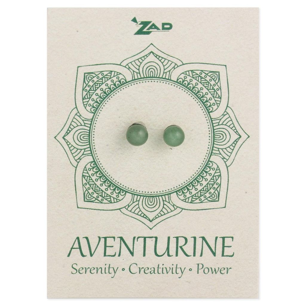 Zad Aventurine Round Post Earring