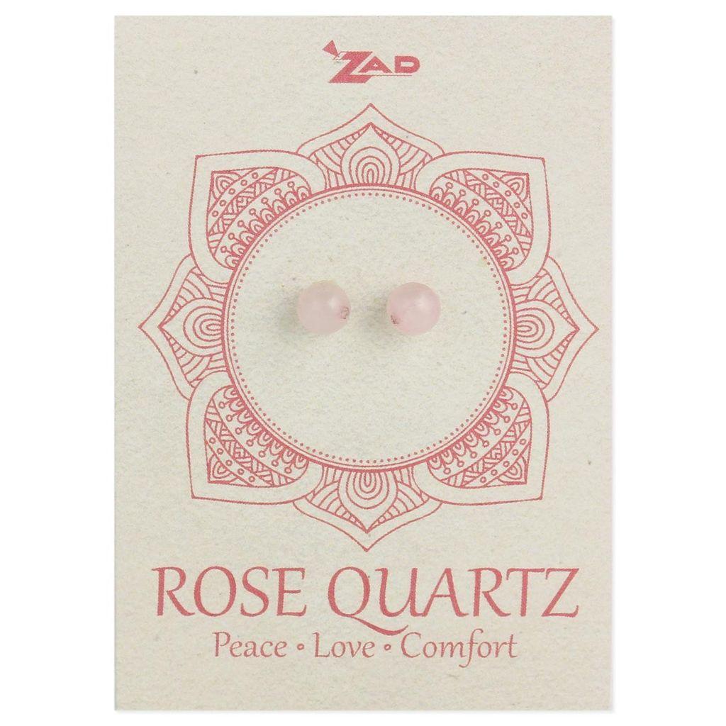 Zad Rose Quartz Round Post Earringz