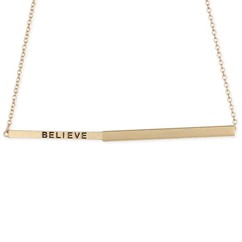 "Gypsy Chic ""Believe"" Hidden Message Gold Plated Necklace"
