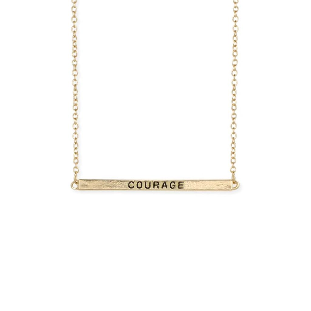 "Gypsy Chic ""Courage"" Hidden Message Gold Plated Necklace"