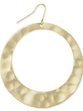 Zad Hammered Gold Plated Circle Earrings