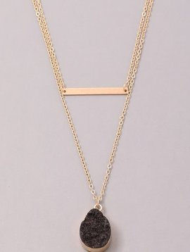 GCB Teardrop Stone Bar Necklace,Black