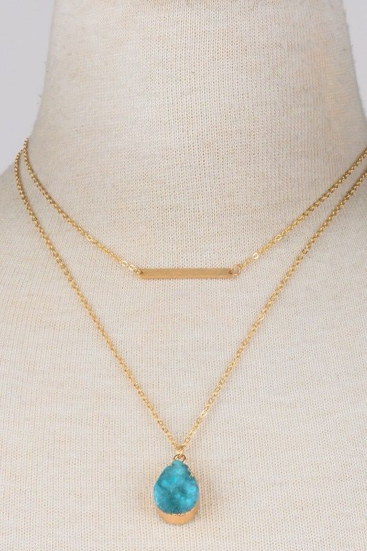 GCB Teardrop Stone Bar Necklace,Black