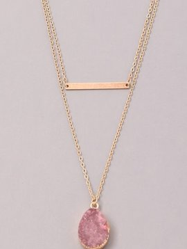 GCB Teardrop Stone Bar Necklace, Plum