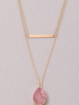 GCB Teardrop Stone Bar Necklace, Plum