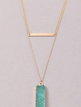 Block Stone Bar Necklace, MInt