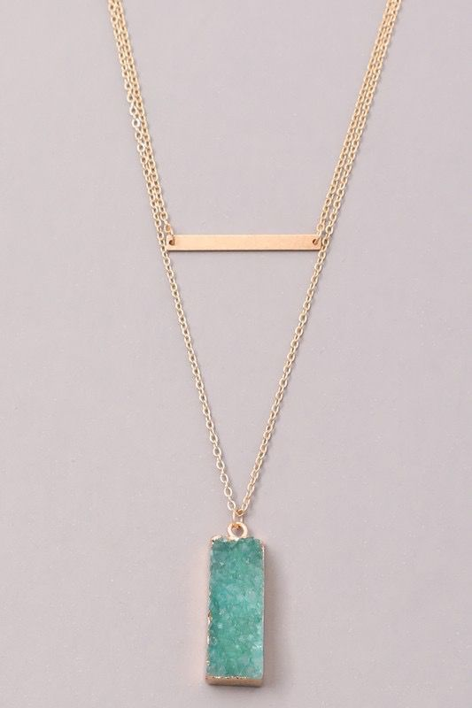 GCB Block Stone Bar Necklace, MInt