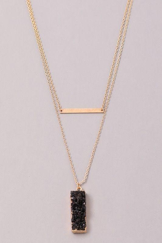 GCB Block Stone Bar Necklace, Black