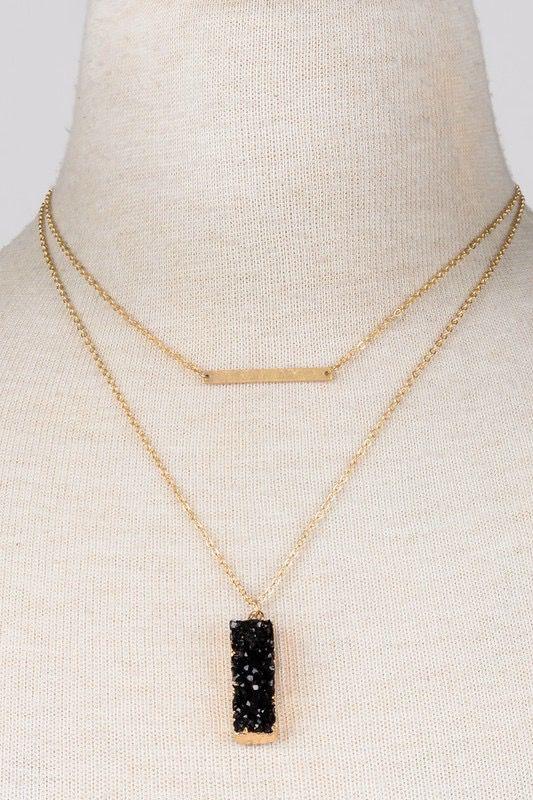 Block Stone Bar Necklace, Black