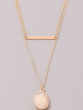 GCB Teardrop Stone Bar Necklace,White