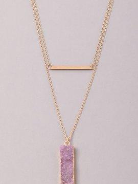Block Stone Bar Necklace,Purple