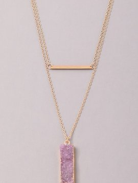 GCB Block Stone Bar Necklace,Purple