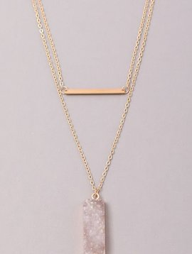 GCB Block Stone Bar Necklace, White